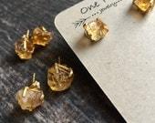Citrine Stud Earrings Gold,Citrine Earrings,Citrine Studs,Raw Stone Studs,Dainty Citrine,Citrine Gold Earrings,November Birthstone,Boho Stud