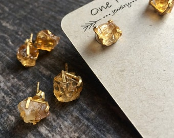 Gemstone Studs,Citrine Stud Earrings,November Birthstone,Birthstone Studs,Gemstone Earrings,Citrine Earrings,Studs,Raw Stone,Silver Studs