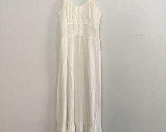 Vintage White Cotton Lace Slip Lingerie Dress S M
