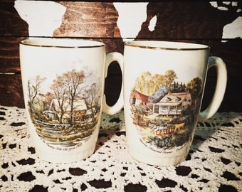 Vintage Currier and Ives Mugs from Lord Nelson Pottery - Summer and Winter