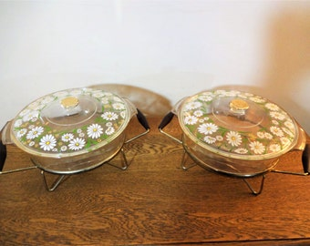"""1960's Flower Power Culver Fire King Casserole with Lid and Warmer/Caddy/Stand - Rare Culver """"Daisy"""" Pattern - 2 Quarts - Mod - Cottage"""