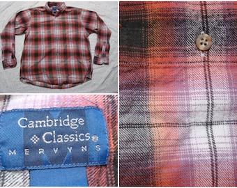 Vintage Retro Men's 90's Cambridge Classics Flannel Shirt Black Red White Pink Plaid Buttonup Long Sleeve Shirt Large