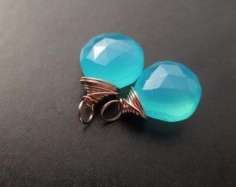 Vibrant SEA BLUE Chalcedony Wire Wrapped Gemstone drops, Interchangeable earrings