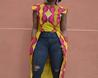 Ankara red and gold high-low top/dress with pockets.