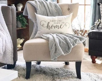 """there's no place like home pillow, throw pillow, word pillow, phrase pillow, christmas gift - """"There's No Place Like Home"""""""