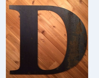 "Rustic Large Letters 22"" Raw or Painted Metal Letter D by PrecisionCut on Etsy"