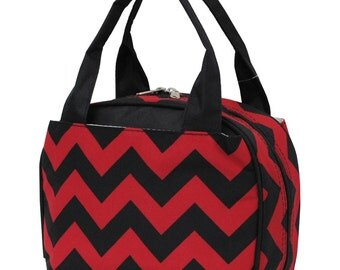 Personalized Insulated Soft Lunchbag:Red & Black chevron  #ZCM255-RED/BLK