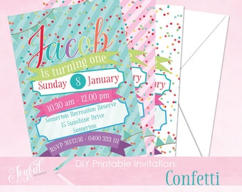 Confetti Birthday Party Printable Invitation