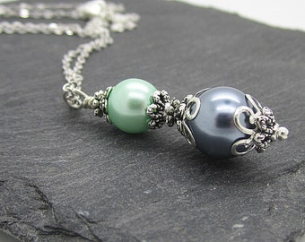Mint with Grey Bridesmaid Necklaces, Mint and Grey Wedding Jewellery, Pearl Drop Pendant, Bridesmaid Gift Sets, Matching Bridal Set,