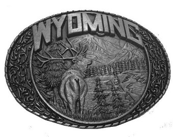 Vintage Wyoming Belt Buckle - Buck - Mountains - Cheyenne - Yellowstone National Park - Forest - Tree