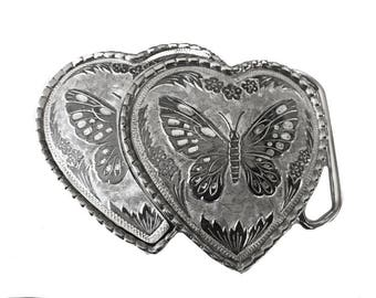 Vintage Silver Double Heart Butterfly Belt Buckle - Engraved - Large - Cowgirl -  Gift idea for women her - Girls - Two