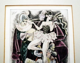 1930s Carnival Etching -  Kurt Hilscher Signed - Art Deco Hand Colored Art - Mardi Gras Festivities - Harlequin Party - Masked Partiers