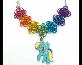 My Little Pony Rainbow Dash - Chainmaille Charm Necklace