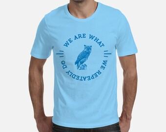 T-shirt, Sky Blue, Silkscreen, Aristotle, Greece, shirt, Life, Inspirational Quote, Greek Philosophy, vintage typography, Motivation, color