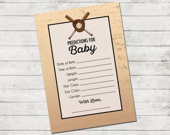 Baby Predictions - Baseball Baby Shower - Vintage Style Baseball Baby Shower - Black Brown Tan - INSTANT DOWNLOAD - Printable