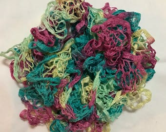 Pastel Turquoise, Purple, Green, and Yellow Variegated Decorative Ruffle Scarf