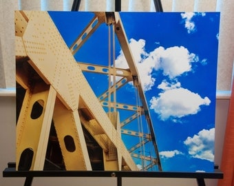 """Downtown Pittsburgh Bridge Photo, HDR photograph, yellow and blue, 16x20"""" Aluminum photography print, One Cerulean Day"""