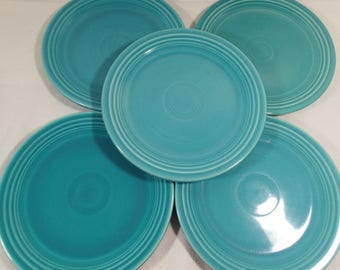 """Homer Laughlin Genuine Fiesta, Turquoise Blue 7 1/2"""" Salad Plates,  Set of 5  All with Genuine Fiesta HL Co USA"""