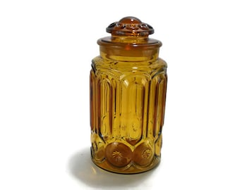 LE Smith Honey Amber Moon and Stars Canister with Ground Glass Lid * Harvest Gold