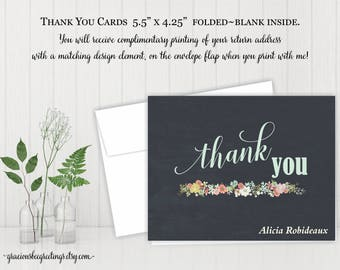 Thank You Cards, Notes, Stationery, Personalized Thank You Cards, Birthday, Bridal, Baby Shower, Printable TY603