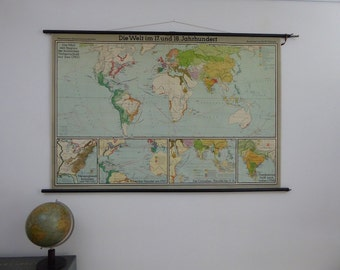 Original Vintage World Map School Chart - Large 17 & 18th Century Wall Map - Original Westermann Verlag Map - 1950s