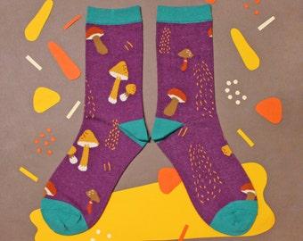 Mushroom Purple Unisex Crew Socks | mens socks |  womens socks | colorful fun & comfortable socks