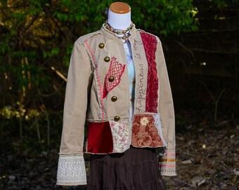 Boho Clothing, Bohemian Clothing, Upcycled Clothing, Jacket for Women, Gypsy Clothing, Altered Clothing, Refashioned Clothing, Size Large