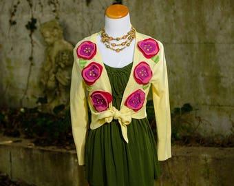 Yellow Bolero Shrug, Knit Shrug, Upcycled Bohemian Clothing, Festival Clothing, Gypsy Bolero, Boho Clothing, Altered Couture, Size Medium