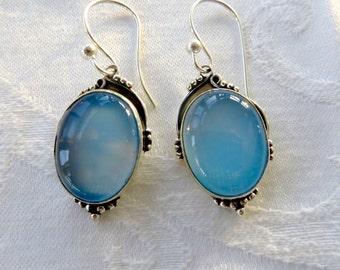 Blue Chalcedony Sterling Earrings, Pierced Drop Earrings, Blue Chalcedony Stones, Gemstone Earrings