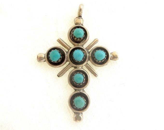 Sterling Zuni Cross Pendant, Snake EyesTurquoise Cross, Signed Zuni Artist June Qualo, Native American Jewelry, New Mexico