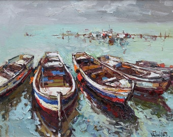 """Boats at berth Seascape original oil painting on canvas   23.6"""" x 31.5"""" Contemporary by Valiulina"""