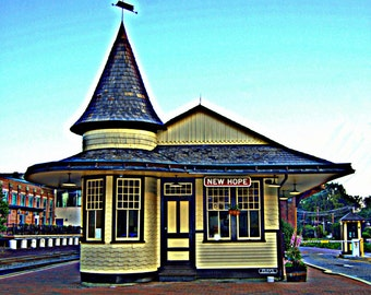 New Hope PA Train Station Railroad Depot Pennsylvania Historic Landmark Architecture Prints Photographs Canvas Wall Art