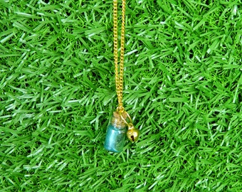 Magic Fairy Bottle Bell Charm Necklace - Teal