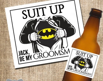 Will You Be My Groomsmen Beer Label, Will You Be My Groomsman Gift, Groomsmen Superhero Beer Label, Superhero Groomsmen Gift, Ask Groomsmen