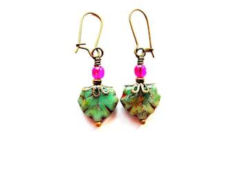 Picasso Czech Glass Leaf Earrings / Maple Leaf Earrings / Bohemian Earrings