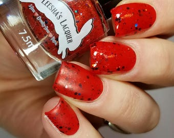 Red Jelly Nail Polish, Glitter Nail Polish - Chromosphere  - Jelly's from Outer Space II Collection