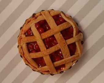 free shipping Cherry pie polymer clay miniature food refrigerator magnet fridge