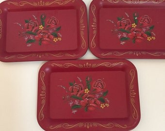 Set of 3 Red Metal Rose Trays - Valentine's, Christmas, Holiday Trays