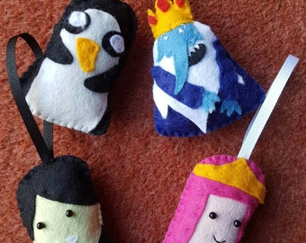 Adventure Time Gunter, Ice King, Marceline and Princess Bubblegum Christmas decorations