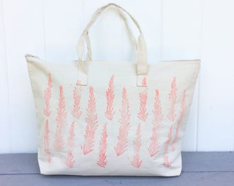 Large zipper tote, overnight bag, Tote bag, Weekend bag, Pink tote bag, mothers day gift, gift for her, block print bag