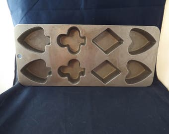 Cast Aluminum Playing Card Suit Suite Muffin Mold