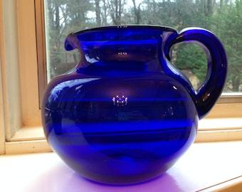 Vintage 1960's Hand Blown Colbalt Glass Iced Tea Water Pitcher