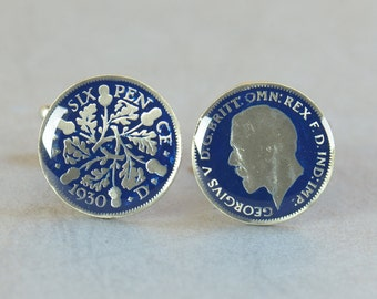 Sterling silver Coin 6 pence Great Britain Painted Cufflinks.United Kingdom