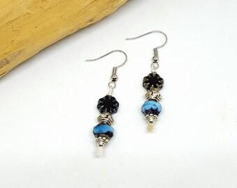 Midnight Blue Boho Chic Earrings - Blue Earrings - Boho Chic Earrings