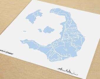 Santorini Map, Hand-Drawn Map Print of Santorini, Greece