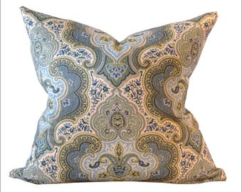 Blue Pillow Cover Paisley Print 18 x 18 Inches FREE SHIPPING