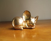 Vintage Brass Mouse Figurine, Mouse Statue, Brass Animal Collectible, Mouse Paperweight