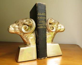 Vintage Brass Ram Bookends, Brass Figurines, Brass Bookends, Gold Ram Bookends, Goat Bookends, Mid Century, Long Horn Sheep