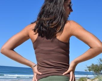 Yoga Racer Back Tank- Organic Bamboo Cotton Lycra- Cocoa Brown- Eco Friendly