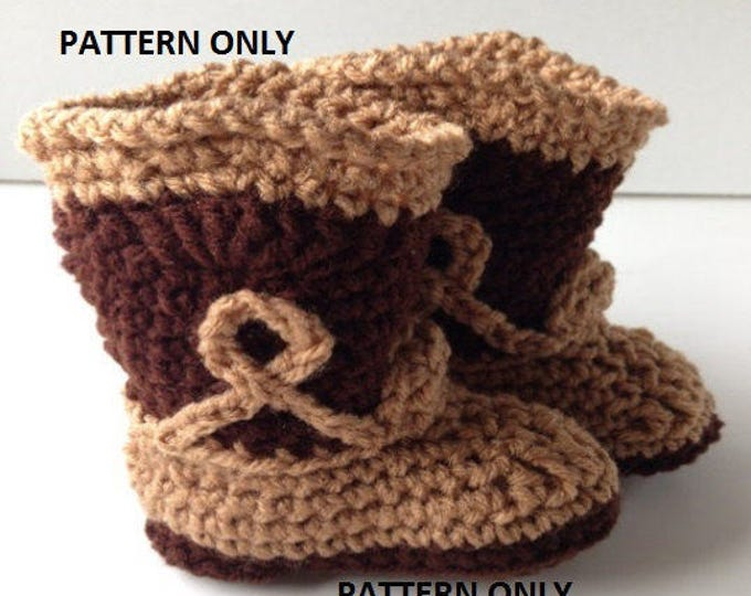 Pattern - Crochet Baby Cowboy Booties Pattern - Cowboy Baby Booties - Crochet Pattern -  Instant Download